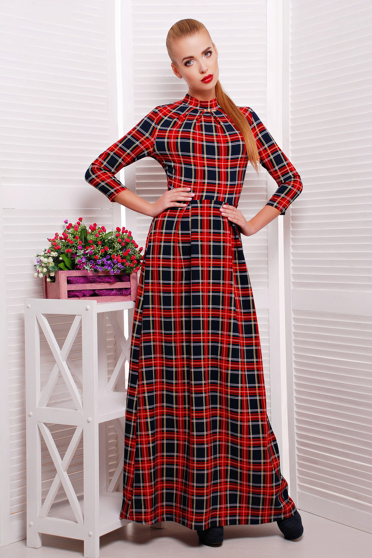 . платье Шарлота4 д/р. Цвет: синий-красная клетка