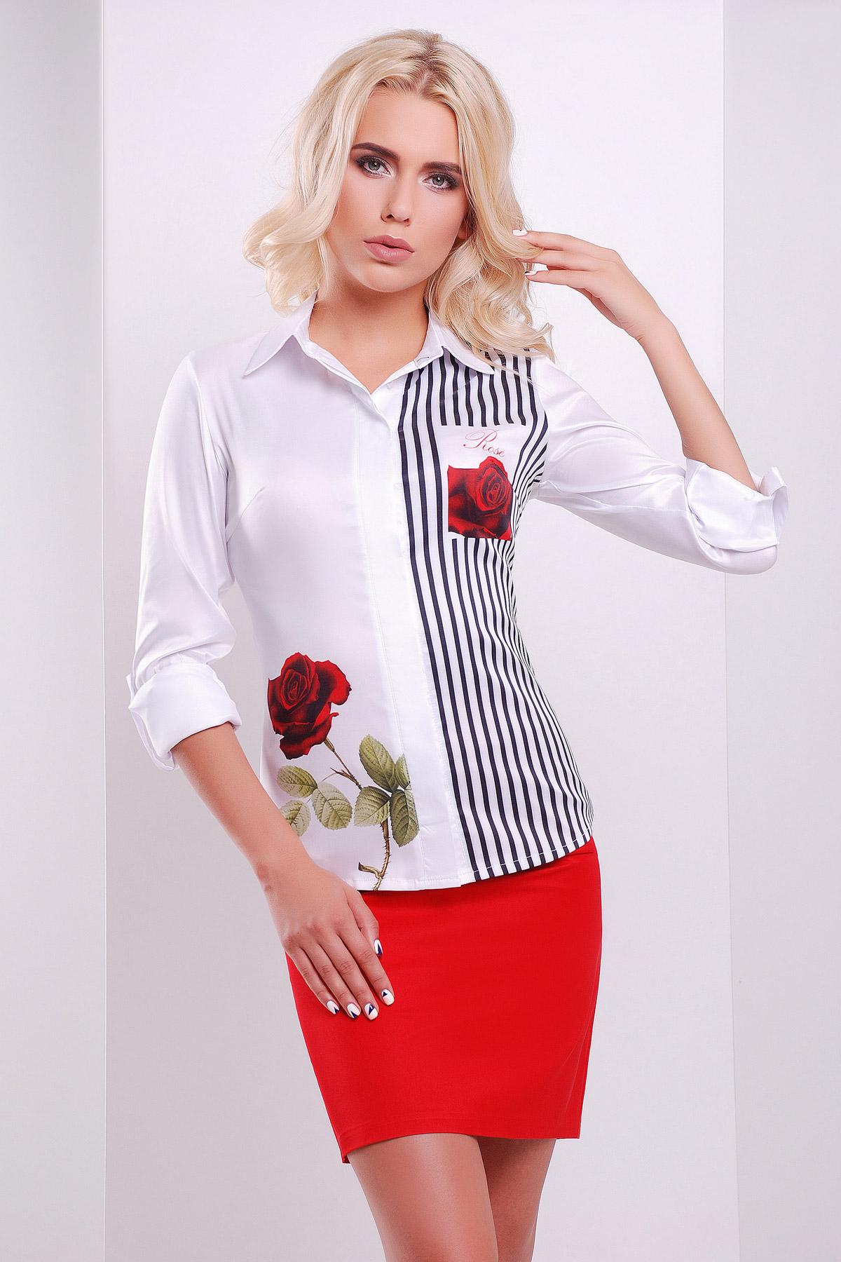 Розы полоска блуза Ларси д/р