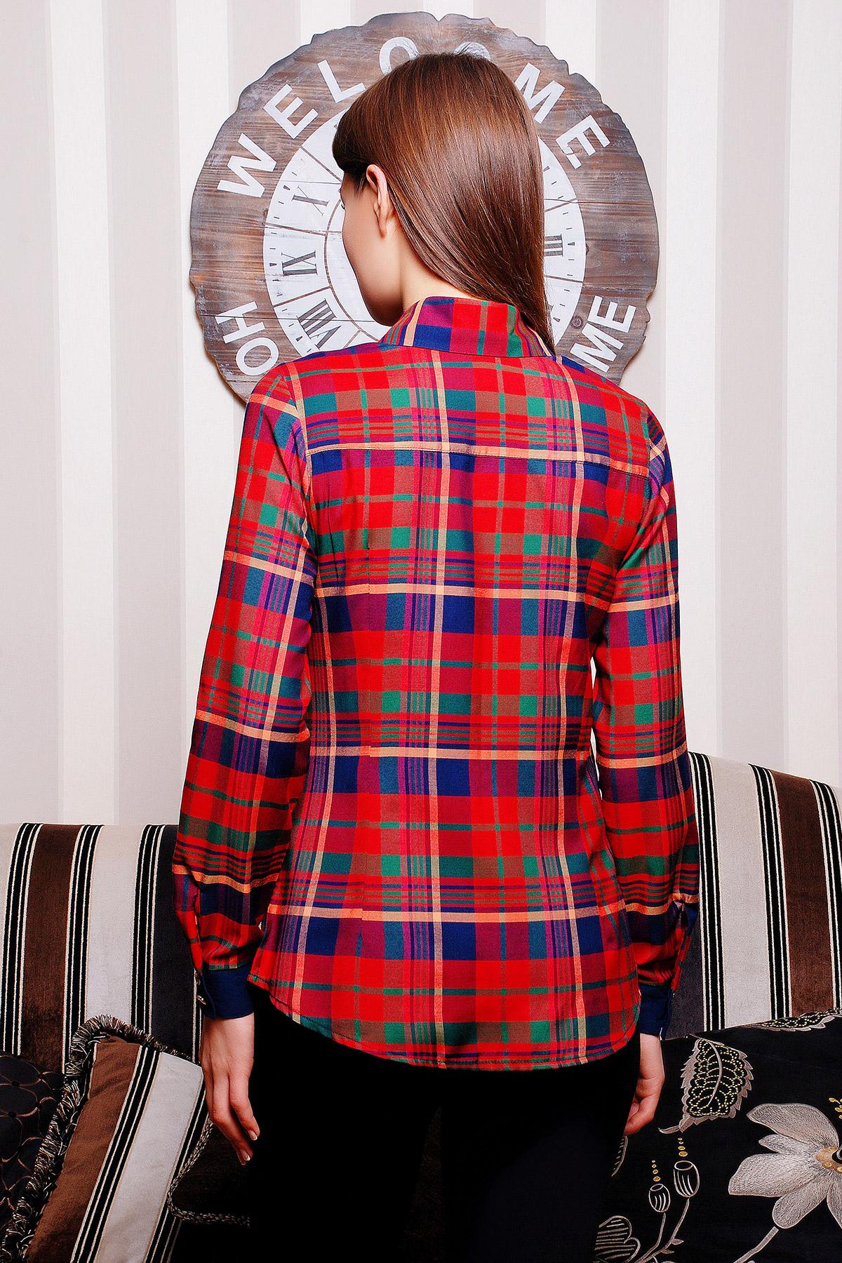 . блуза Шотландка д/р. Цвет: красный-т.синяя отделка