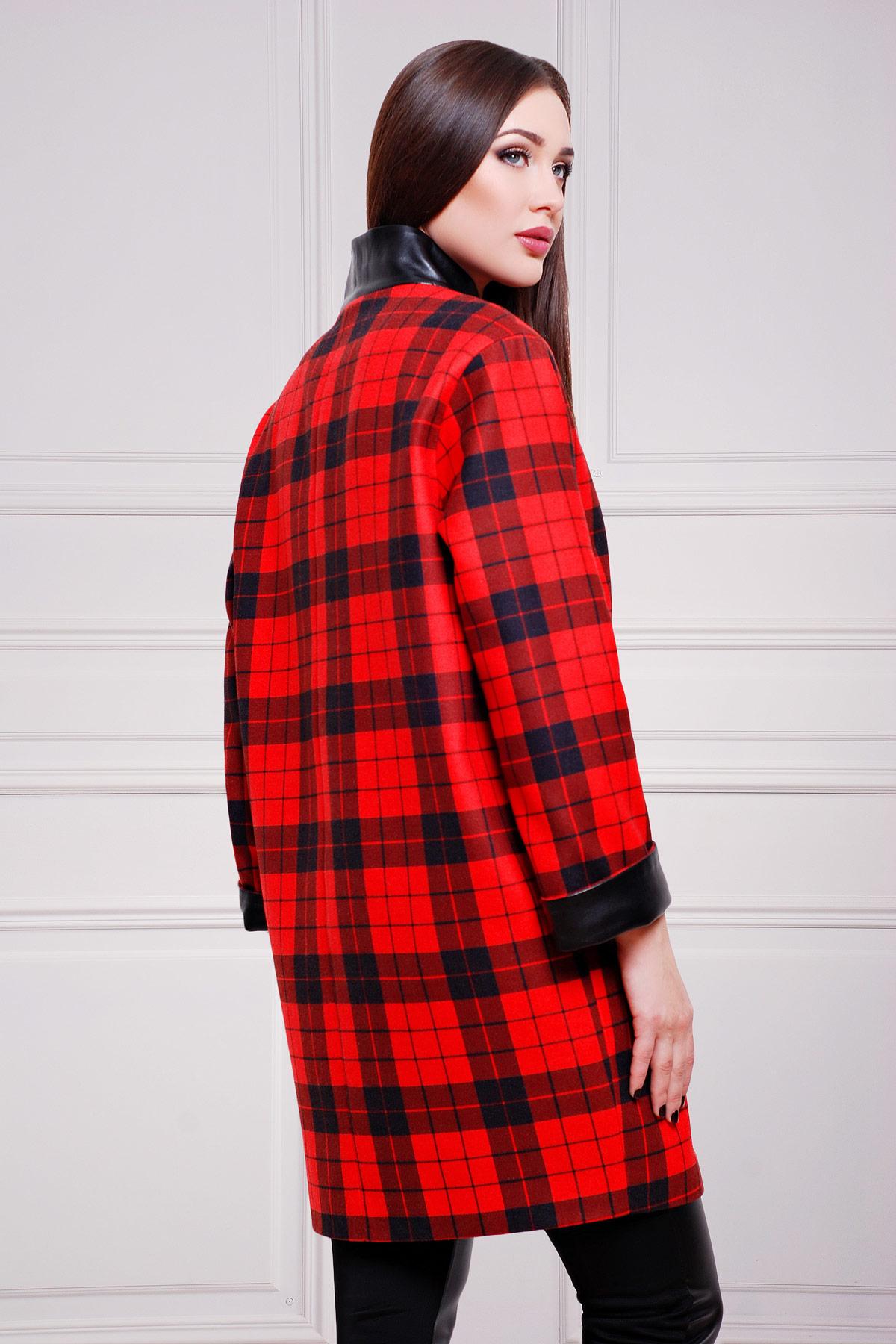 Клетка красно-черная пальто Клоди2