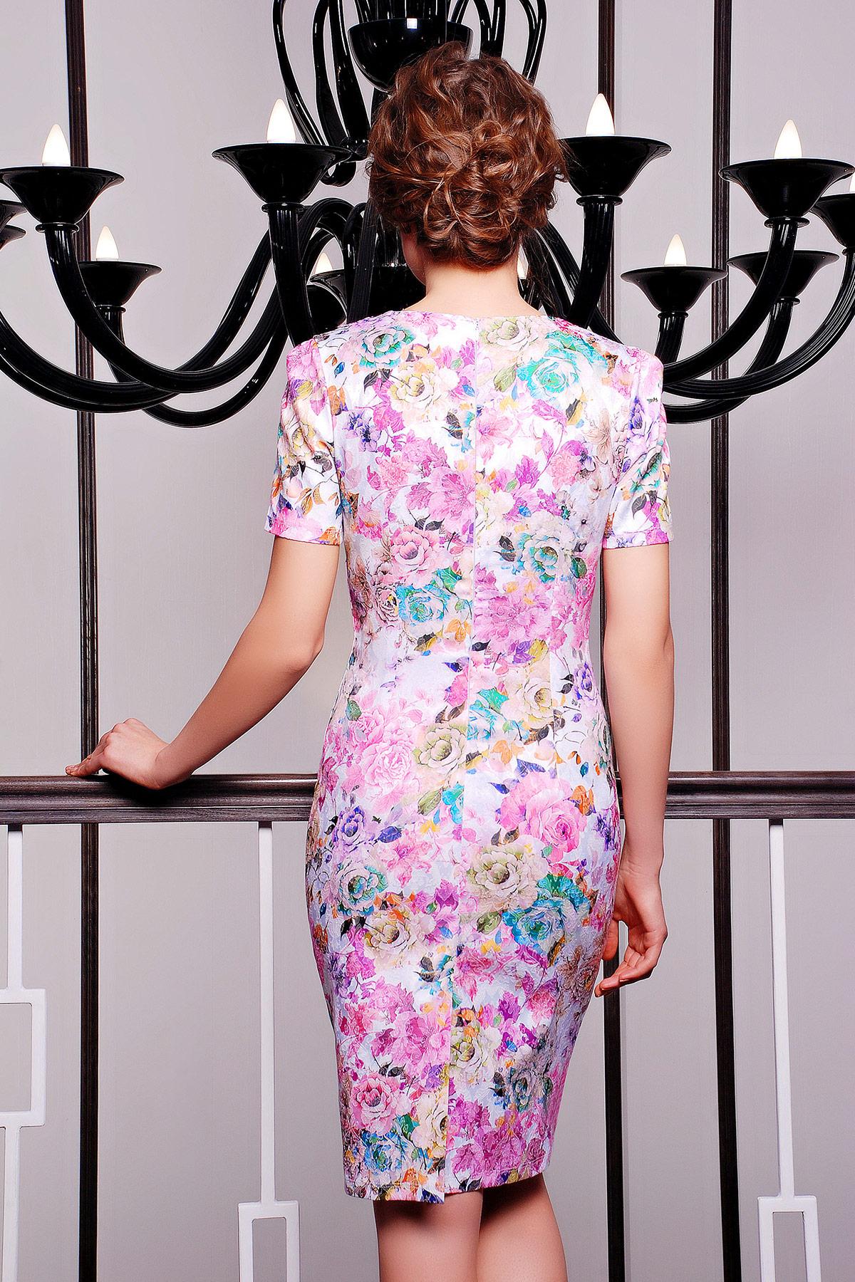 . платье Энжи к/р. Цвет: белый-розов.цветы