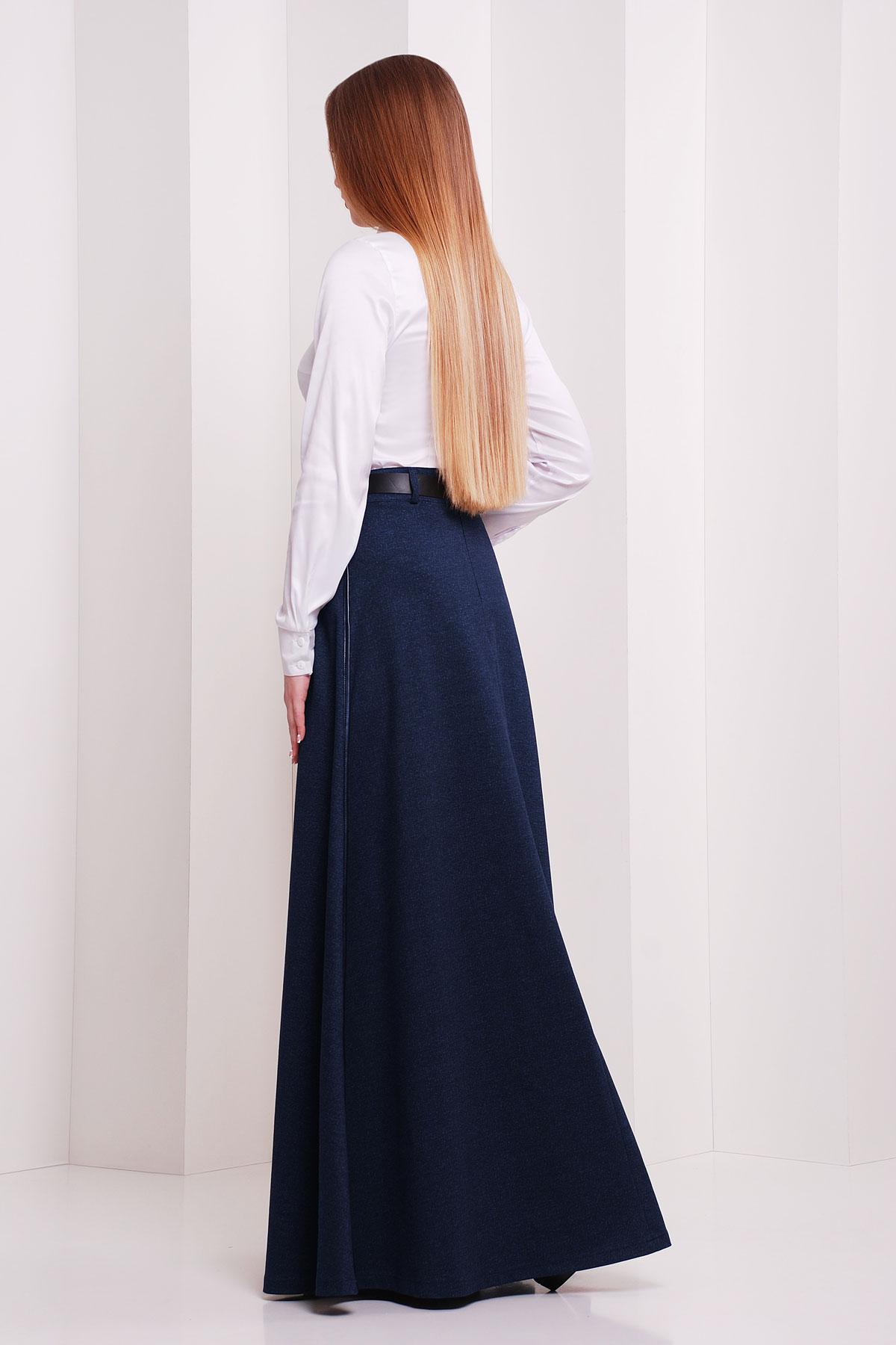 женская юбка-трапеция в пол. юбка мод. №24. Цвет: т.синий меланж