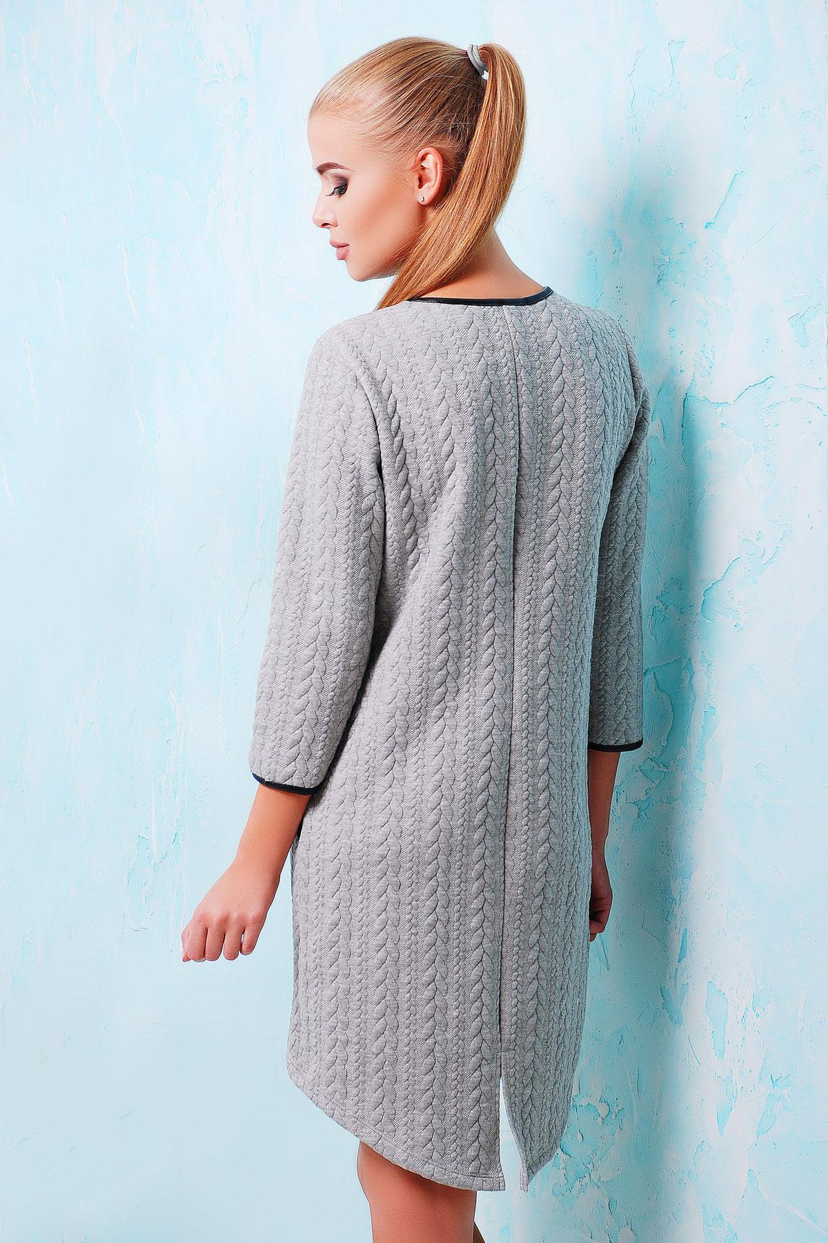. платье Фрэнки д/р. Цвет: серый-черная отделка