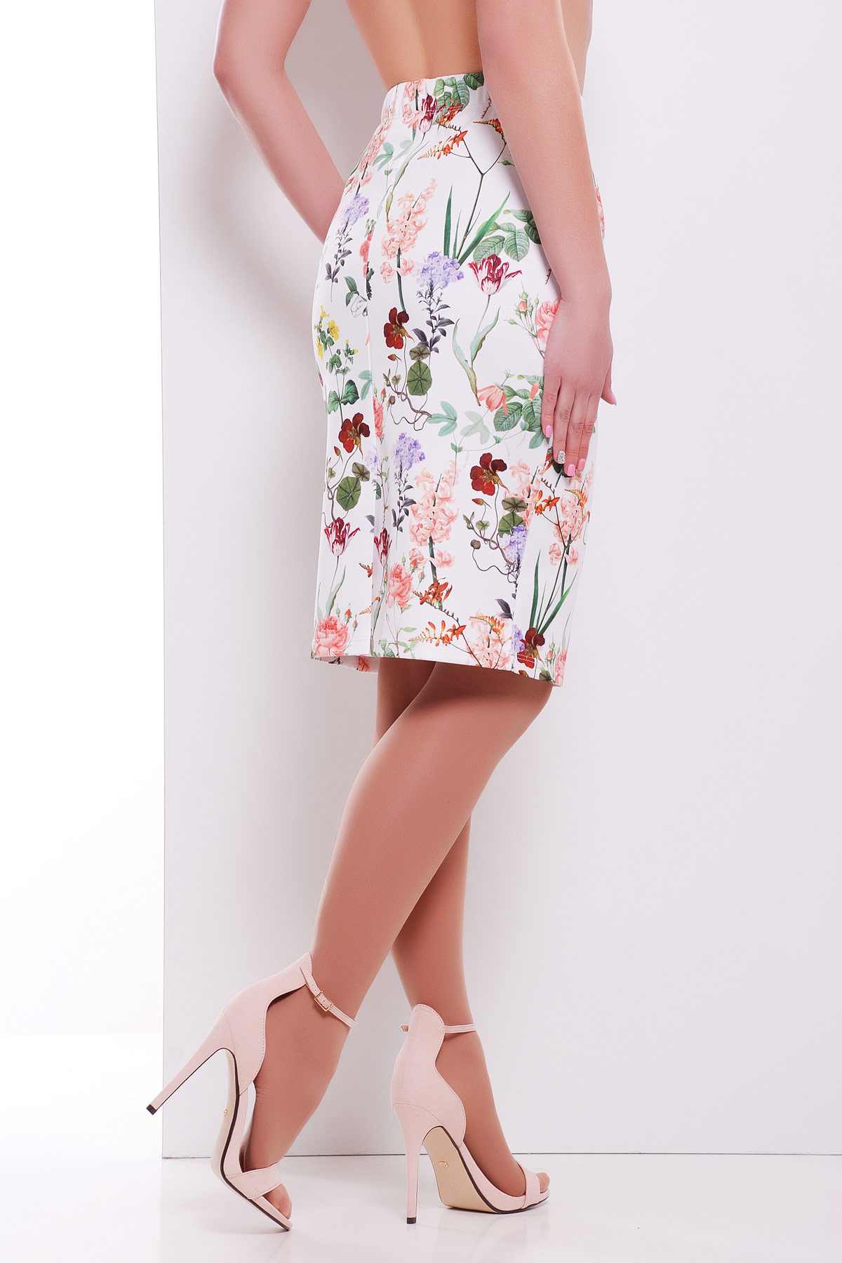 юбка-карандаш с цветами. Цветочки юбка мод. №14 Оригами. Цвет: принт