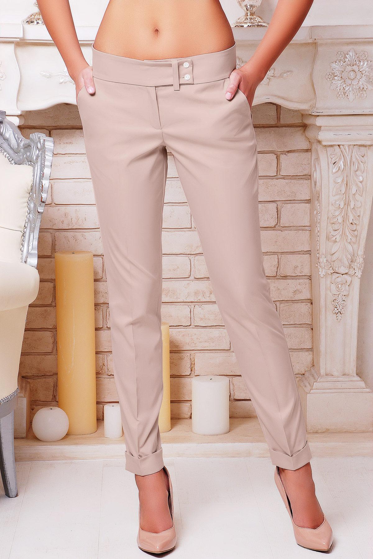 женские светло-бежевые брюки. брюки Хилори. Цвет: бежевый
