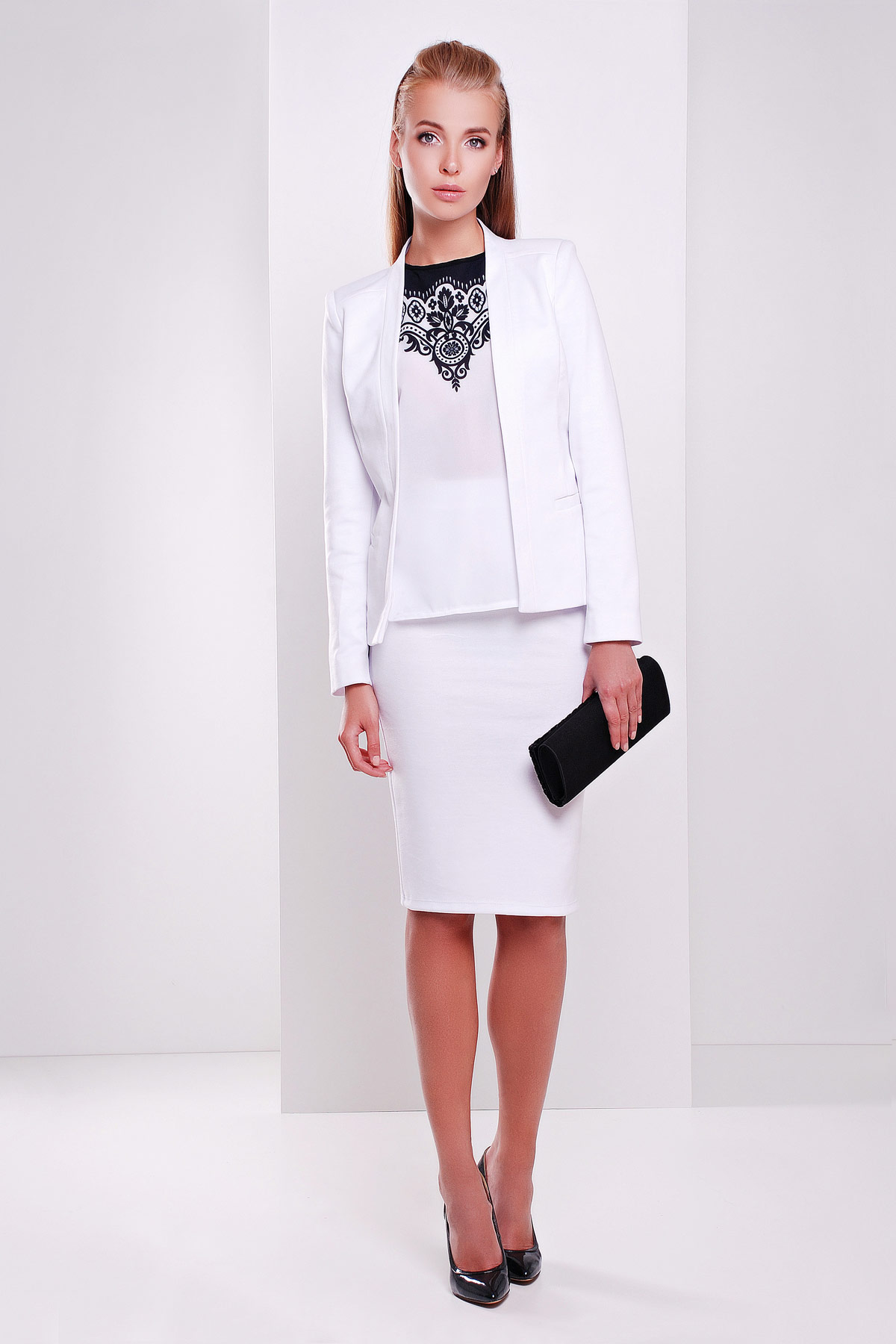 темно-синяя офисная юбка-карандаш. юбка мод. №20. Цвет: белый