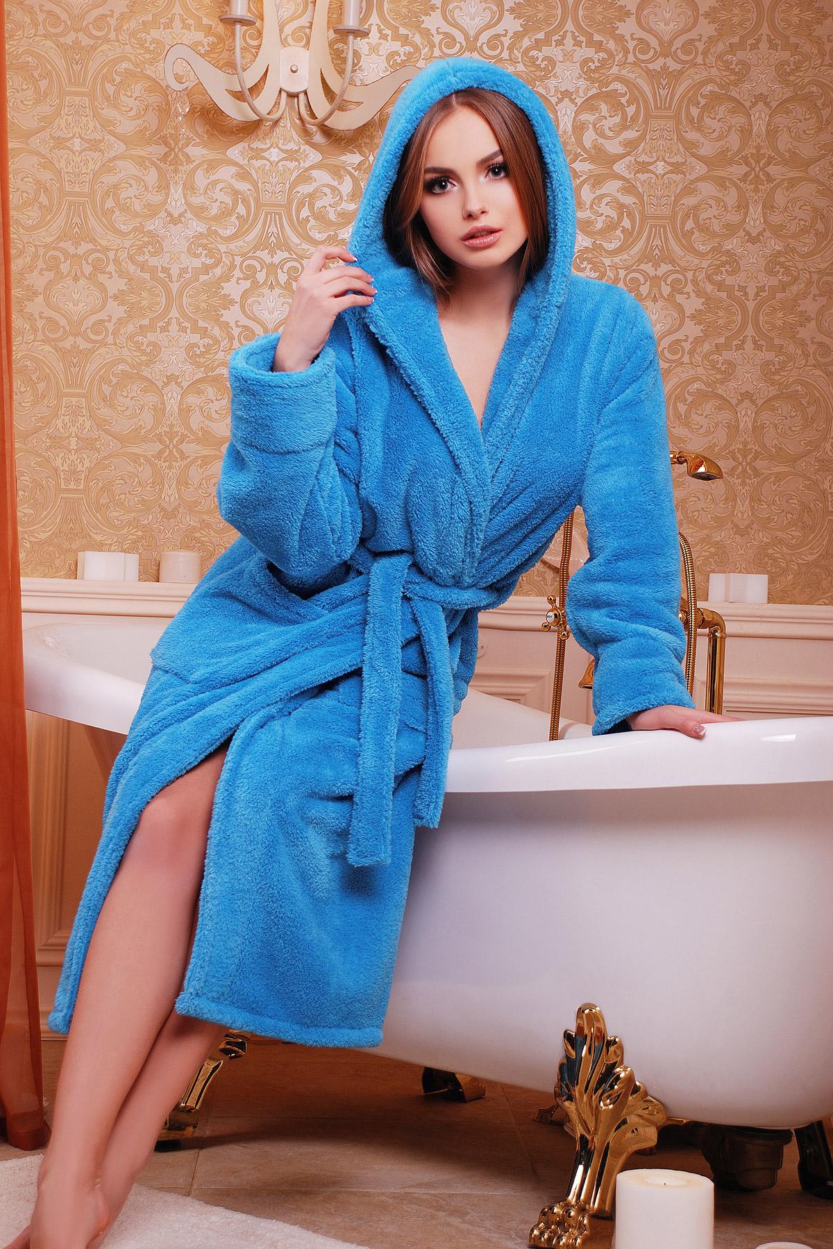 Женский синий халат с поясом из махры. Халат женский 01 (длинный). Цвет: синий