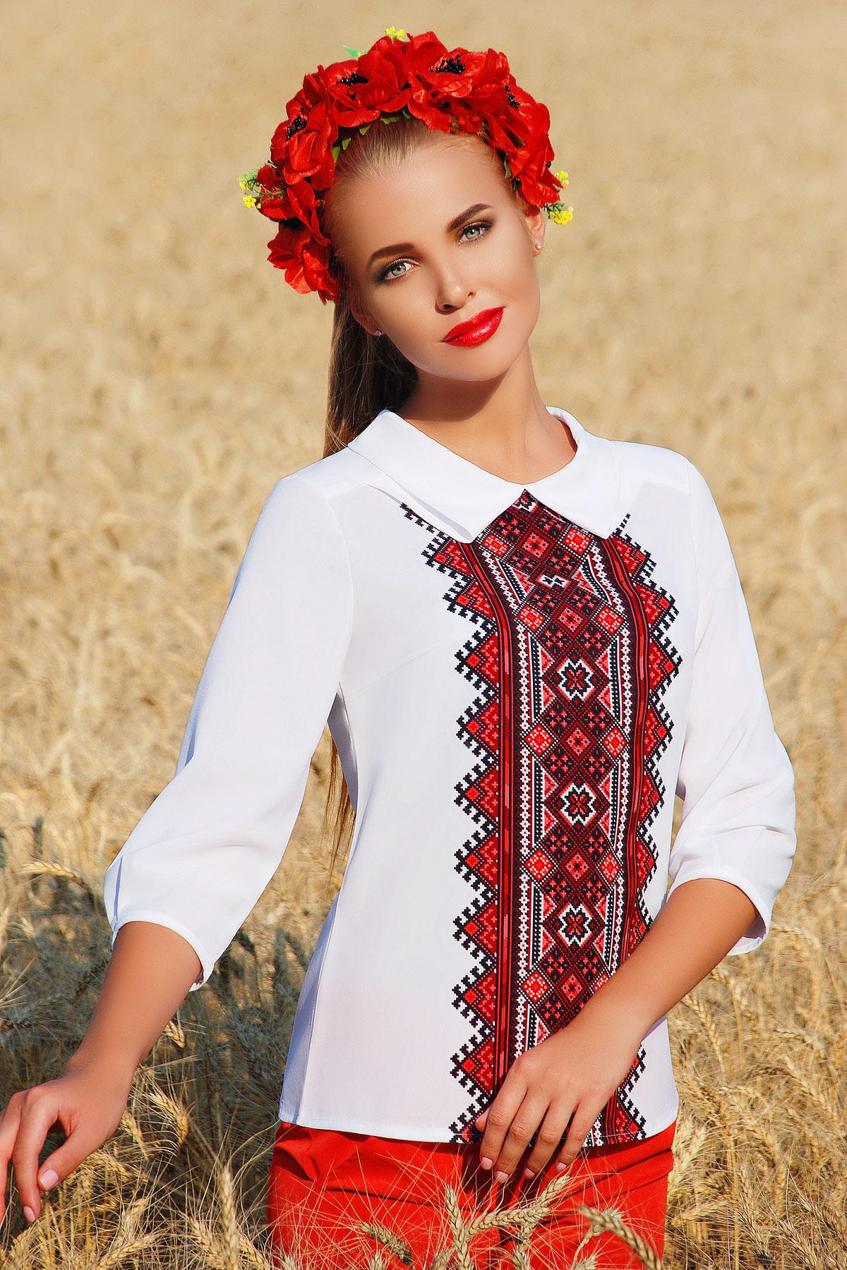 Украинский орнамент№2 блуза Тамила2 д/р