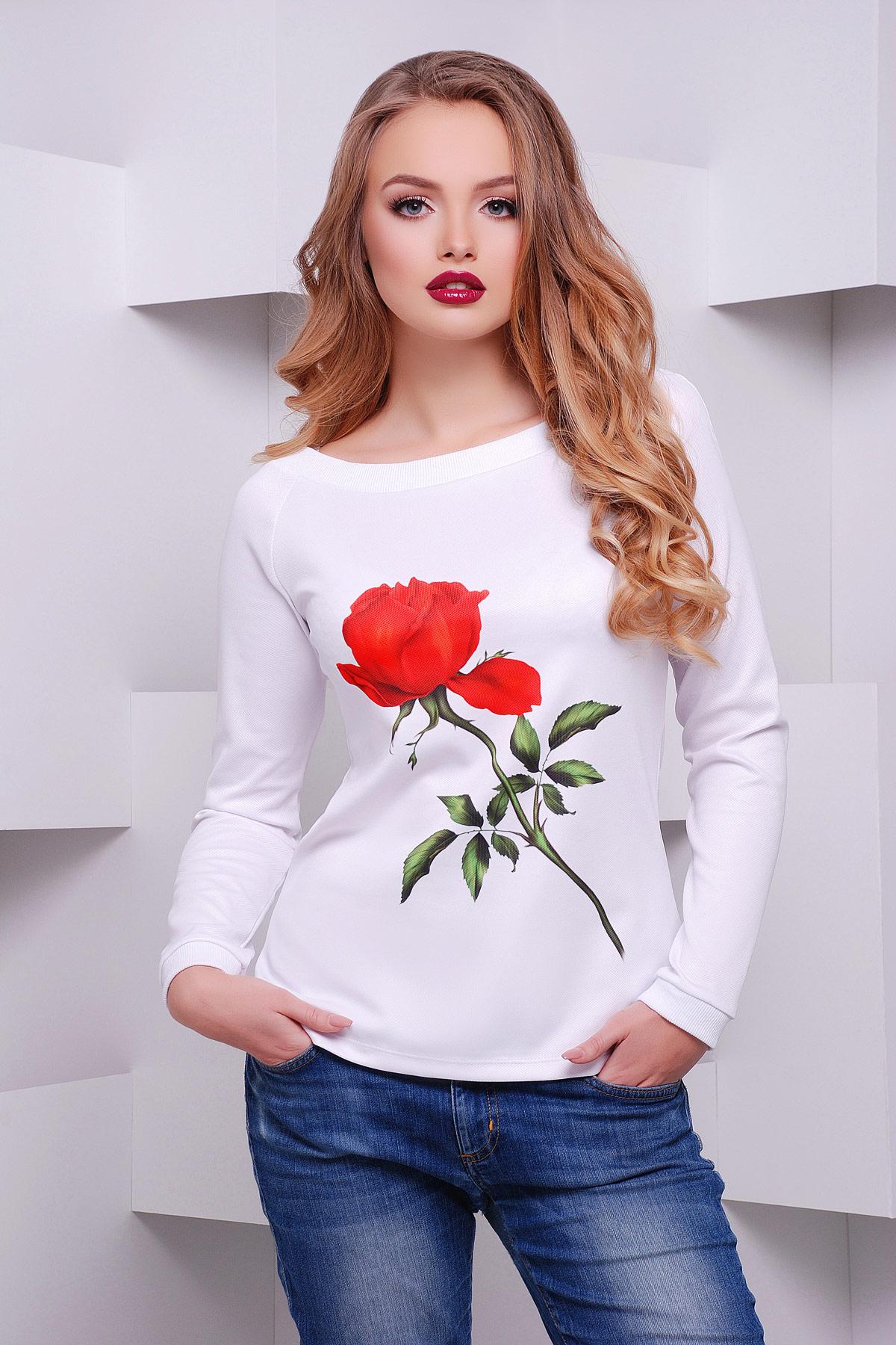 Роза-белый кофта Моника д/р