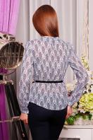 Шифоновая синяя блуза с узором. блуза Энни д/р. Цвет: белый-синий узор