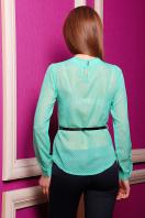 Черная шифоновая блуза в белый горох. блуза Энни д/р. Цвет: зеленый-горох