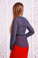 Черная шифоновая блуза в белый горох. блуза Энни д/р. Цвет: т.синий-горох