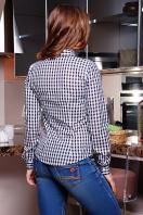 женская трикотажная блуза в синюю клетку. блуза Шериф д/р. Цвет: т.синий-клетка