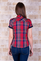 . блуза Шотландка к/р. Цвет: красный-т.синяя отделка