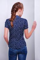 темно-синяя блуза из шифона с морским принтом и коротким рукавом. блуза Якира к/р. Цвет: т.синий-якорь