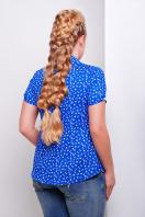 ситцевая голубая блуза для полных с морским принтом. блуза Якира-Б к/р. Цвет: электрик-якорь