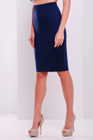 белая трикотажная миди юбка-карандаш. юбка мод. №20. Цвет: темно синий