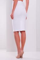 белая трикотажная миди юбка-карандаш. юбка мод. №20. Цвет: белый