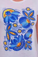 белая футболка с петриковской росписью большого размера. Петриковская роспись7 Футболка-2В-Б. Цвет: принт