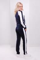 женские спортивные брюки темно-синего цвета с принтом. Китайская роза брюки Юниор 3ДН. Цвет: принт-т.синяя отделка