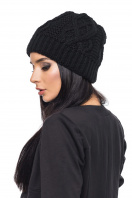 Женская вязаная шапка черного цвета. Шапка 1044. Цвет: черный