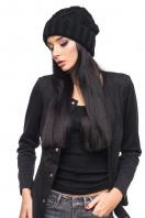 Вязаная черная шапка с отворотом. Шапка 1049. Цвет: черный