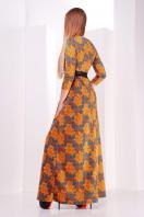 . платье Шарли д/р. Цвет: оранжевый-лапка-роза