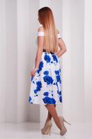 Красивое платье с открытыми плечами и пышной юбкой. Розы синие платье Эмми б/р. Цвет: принт