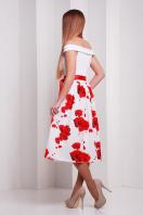 Женское платье с белым верхом и юбкой с розами. Розы красные платье Эмми б/р. Цвет: принт