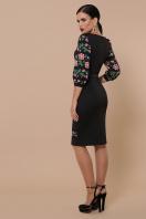 Черное платье с принтом, имитирующим вышивку. Цветы-орнамент платье Андора д/р. Цвет: черный