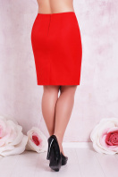 прямая юбка цвета электрик для полных женщин. юбка мод. №1 Б. Цвет: красный