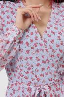 . Платье Алеста д/р. Цвет: голубой-цветы красн.