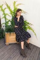 . Платье Агафия-1 д/р. Цвет: черный-м.букет
