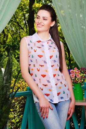 блуза Сити2 б/р. Цвет: белый-насекомые