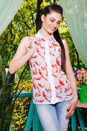 блуза Сити2 б/р. Цвет: белый-рыбки1