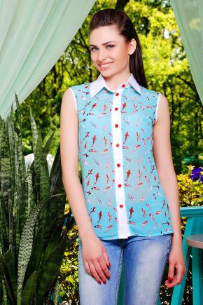 блуза Сити2 б/р. Цвет: бирюза-рыбки2