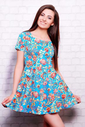 платье Милава2 к/р. Цвет: голубой-цветы лилии