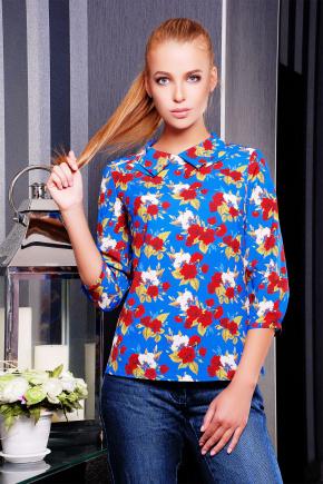 Роза красная блуза Тамила1 д/р. Цвет: синий