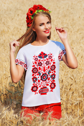 Узор цветы блуза Кимоно 2Н к/р. Цвет: принт