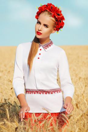 Узор красный блуза Василиса д/р. Цвет: принт