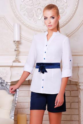 блуза Киола д/р. Цвет: белый-т.синяя отделка