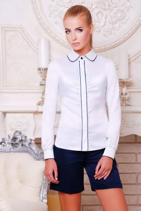 блуза Лизи д/р. Цвет: белый-т.синяя отделка