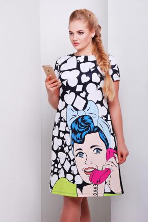 Поп-арт платье Тая-3Б к/р. Цвет: принт