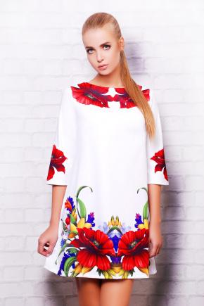 Маки платье Тая-3 д/р. Цвет: белый
