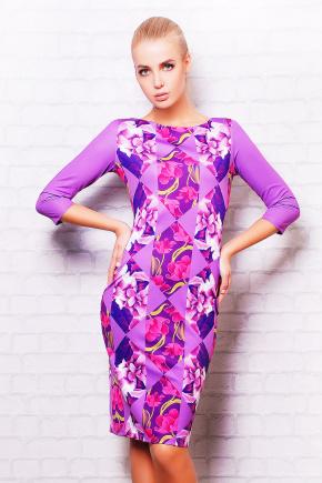 Цветы-ромб платье Лоя-1 д/р. Цвет: принт