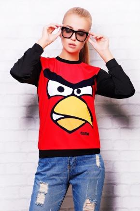 Angry Birds кофта Свитшот №2 (весна) д/р. Цвет: красный-черная отделка