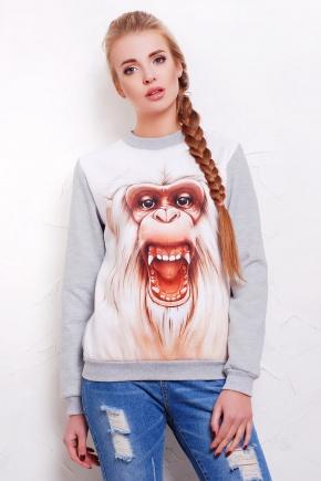 Белая обезьяна кофта Свитшот 2 д/р. Цвет: принт-серая отделка