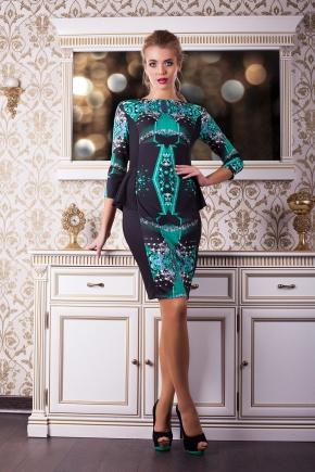 Изумруд платье Богемия д/р. Цвет: принт-черная отделка