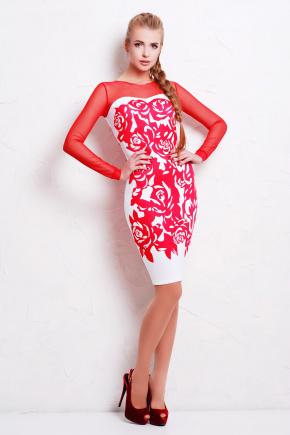 Коралл розы платье Донна д/р. Цвет: белый