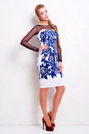 Темно синие розы платье Донна д/р. Цвет: белый